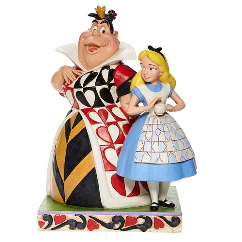 Disney Traditions Alice in Wonderland Alice and Queen of Hearts Chaos and Curiosity by Jim Shore Statue