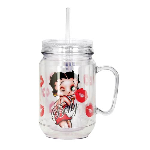 Betty Boop Kisses 18 oz. Mason-Style Plastic Jar with Lid and Handle