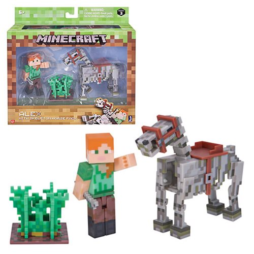 Minecraft Series 3 Alex with Skeleton Horse Pack