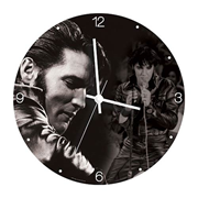 Elvis Presley 13 1/2-Inch Cordless Wood Wall Clock