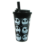 Nightmare Before Christmas Jack Skellington Multi Face Plastic 16 oz. Flip-Straw Travel Cup