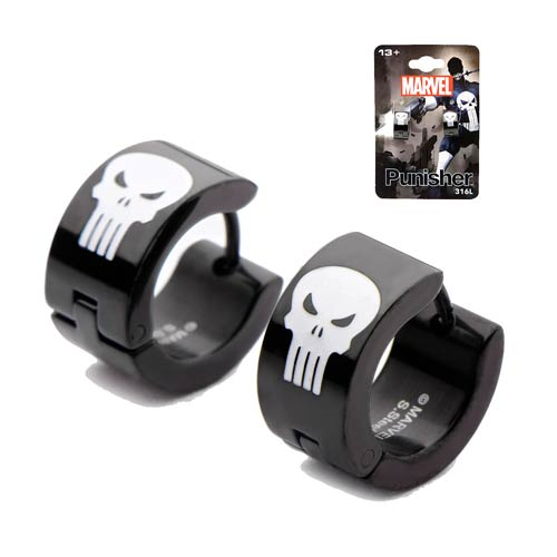 Punisher Skull Huggie Earrings