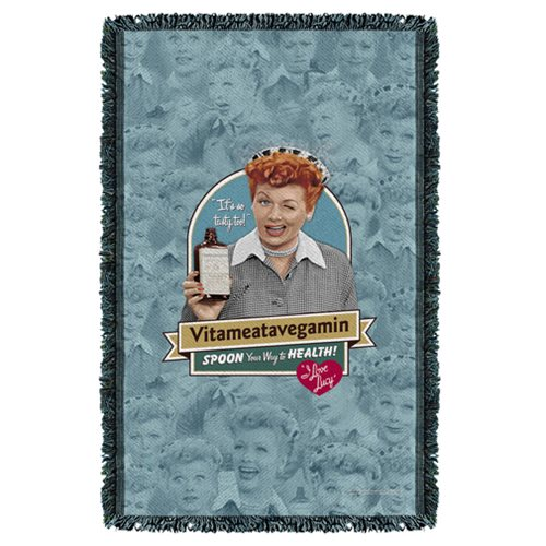 I Love Lucy Vitameatavegamin Woven Tapestry Throw Blanket