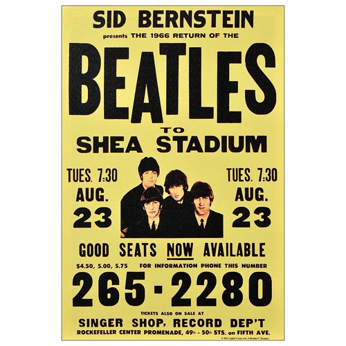 The Beatles Shea Stadium 1966 Poster Large Canvas Print