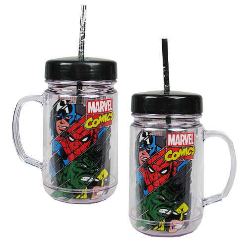 Marvel Heroes Panel 24 oz. Plastic Mason Jar