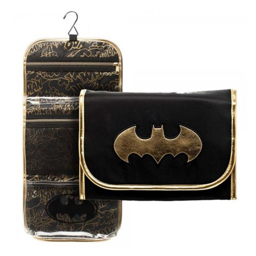Batman Black and Gold Logo Cosmetic Bag