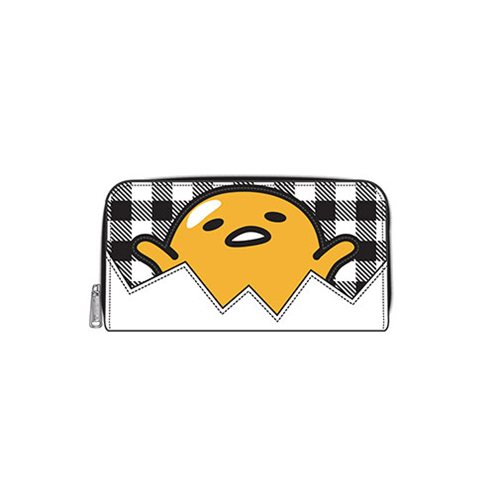 Gudetama Eggshell Gingham Zip-Around Wallet