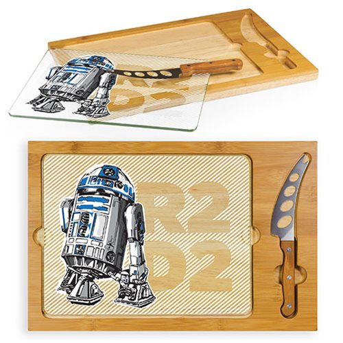 Star Wars R2-D2 Icon Glass Top Serving Tray and Knife Set