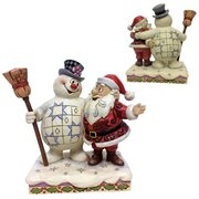 Frosty the Snowman Frosty and Santa Hugging At Home In The North Pole Statue by Jim Shore