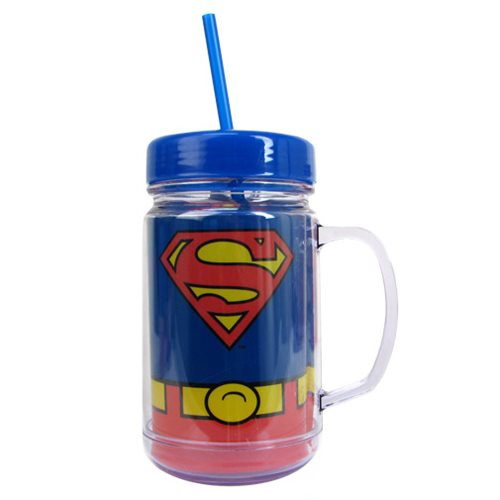 Superman Uniform 24 oz. Plastic Mason Jar