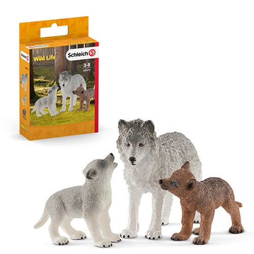 Wild Life Mother Wolf with Pups Set