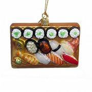 Sushi Platter 4-Inch Glass Ornament
