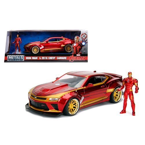 Iron Man Hollywood Rides 2016 Chevy Camaro 1:24 Scale Die-Cast Metal Vehicle with Figure