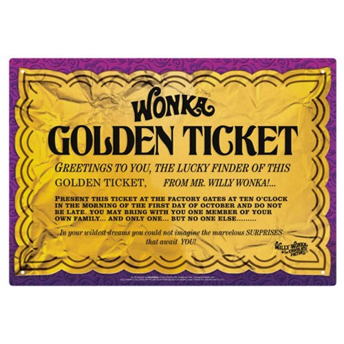 Willy Wonka and the Chocolate Factory Golden Ticket Tin Sign