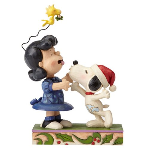 Peanuts Jim Shore Snoopy Kissing Lucy Mistletoe Statue