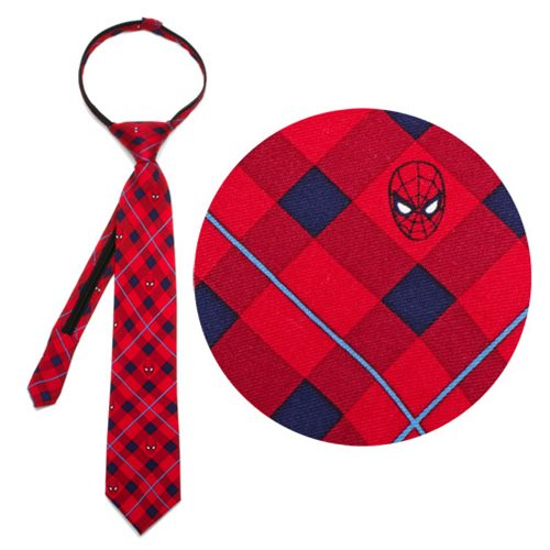 Spider-Man Red Plaid Boys Zipper Silk Tie