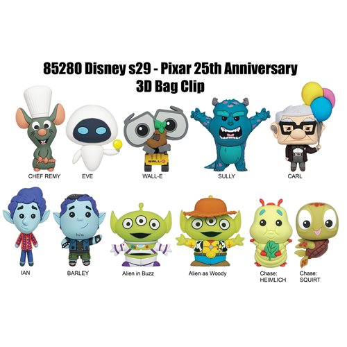 Pixar 25th Anniversary Figural Bag Clip Display Case