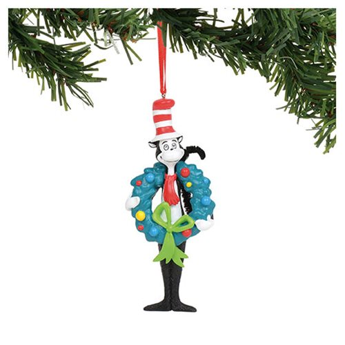 Dr. Seuss Cat in the Hat with Wreath Ornament