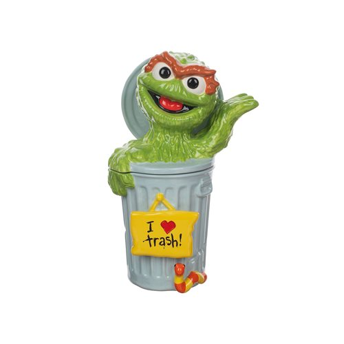 Sesame Street Oscar the Grouch Sculpted Ceramic Cookie Jar