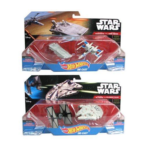 Hot Wheels TIE INTERCEPTOR vs MILLENNIUM FALCON 2 Starships Star Wars Die Cast