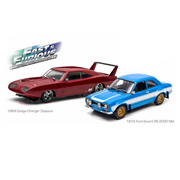 Fast and Furious 6 2013 Movie 1969 Dodge Charger Daytona and 1974 Ford Escort RS 2000 MKI Die-Cast Metal Vehicle 2-Pack