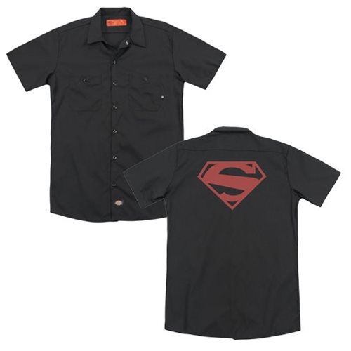 Superman New 52 Red Block Logo Work Shirt