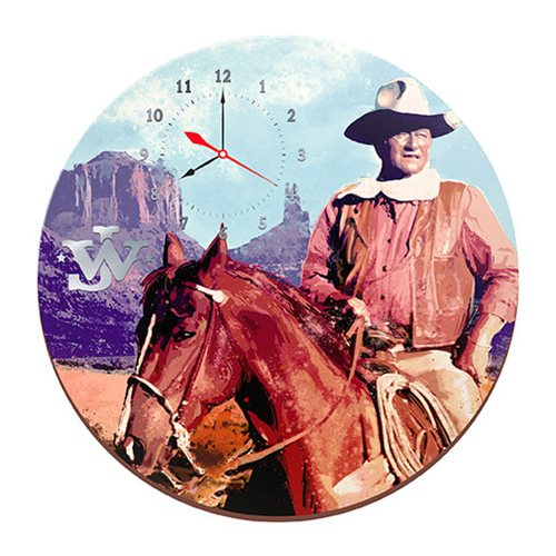 John Wayne Cordless Wood Wall Clock