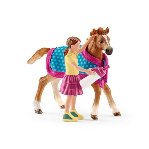 Horse Club Girl with English Thoroughbred Foal Set