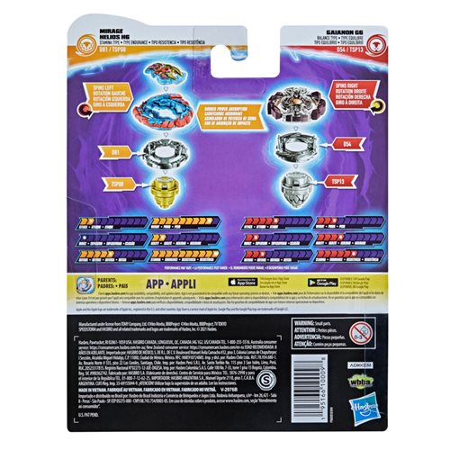 Beyblade Burst Surge Speedstorm Mirage Helios H6 and Gaianon G6 Spinning Tops Dual Pack