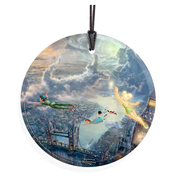 Peter Pan Tinker Bell Fly to Neverland by Thomas Kinkade StarFire Prints Hanging Glass Print