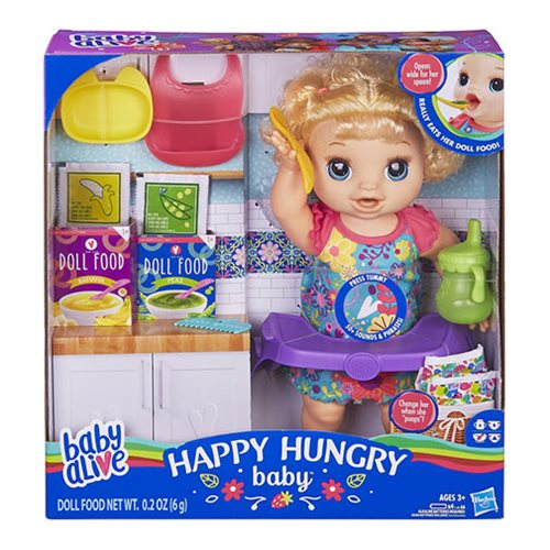 Baby Alive Happy Hungry Baby Blonde Curly Hair Doll