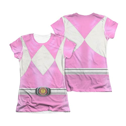 717dd68e9a7 Mighty Morphin Power Rangers Pink Ranger Juniors T-Shirt ...
