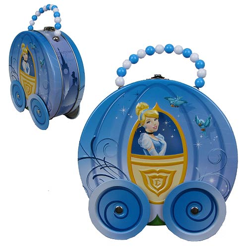Cinderella Carriage Shaped Embossed Tin Tote With Wheels And