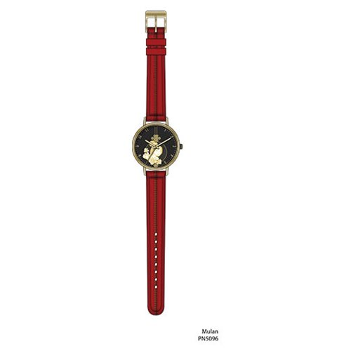 Mulan with Stitch Red and Black Strap Watch