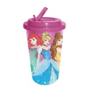 Disney Princesses Belle, Ariel, and Cinderella Plastic 16 oz. Flip-Straw Travel Cup