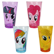 My Little Pony Friendship is Magic Heads Glitter 16 oz. Pub Glass 4-Pack