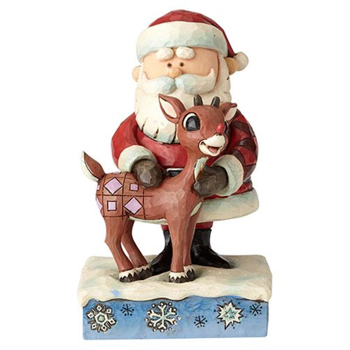 Rudolph the Red-Nosed Reindeer Santa Hugging Rudolph Statue by Jim Shore