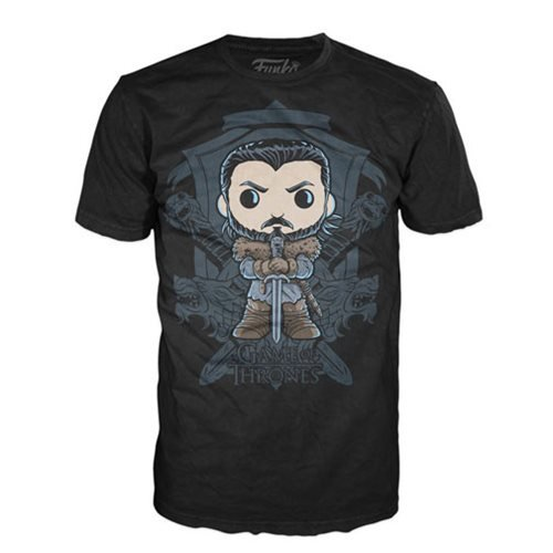 Game of Thrones Jon Snow Crest Pop! Black T-Shirt
