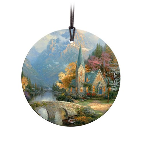 Thomas Kinkade The Mountain Chapel StarFire Prints Hanging Glass Ornament