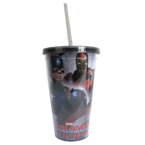 Captain America: Civil War Captain America Forefront Iron Man Background 16 oz. Travel Cup