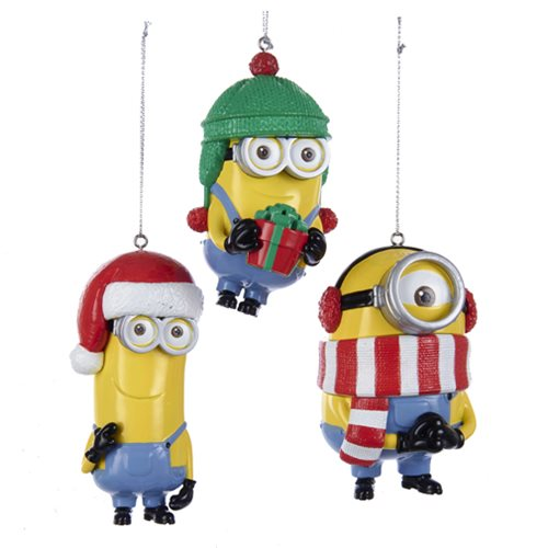 Minions Dave Tim and Stuart 3 1/2-Inch Ornament Set