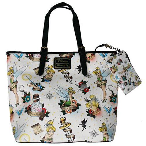 Peter Pan Tinkerbell Tattoo Print Tote Purse