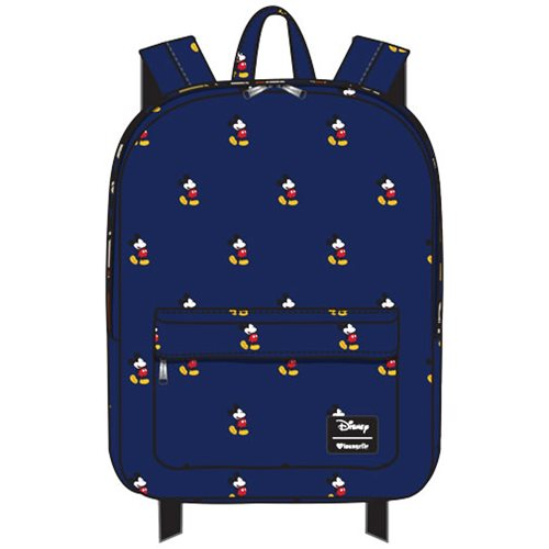 Mickey Mouse Print Blue Nylon Backpack