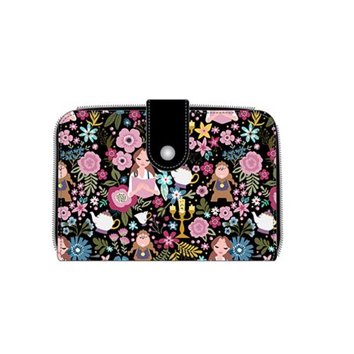 Beauty And The Beast Belle Floral Print Black Wallet