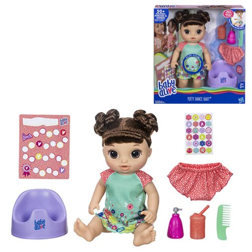 Baby Alive Potty Dance Baby Doll Brown Curly Hair