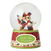 Disney Traditions Mickey and Minnie Mouse Under the Mistletoe 6 1/2-Inch Snow Globe by Jim Shore