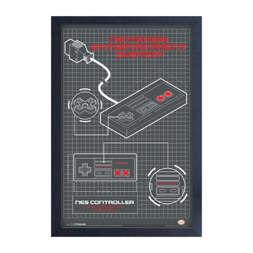 Nintendo NES Controller Diagram Framed Art Print