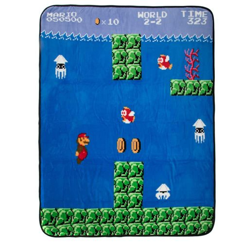 Super Mario Bros. Water Level Fleece Throw Blanket