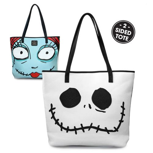 Nightmare Before Christmas Jack and Sally Big Face 2-Sided Tote Purse