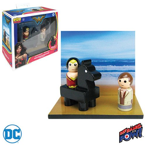 Wonder Woman Pin Mate Wood Themyscira Island Set with Wonder Woman and Steve Trevor